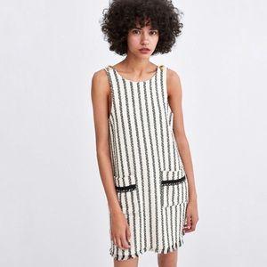 Zara Tweed Striped Shift Dress with Fringe Hem